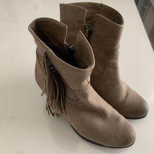 Sam Edelman 7.5 grey fringe booties